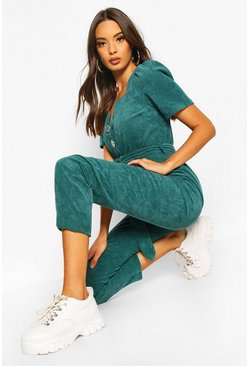 Bottle green green Chunky Cord Button Front Boiler Suit