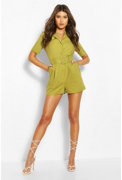 Olive green Linen Look Tailored Blazer Romper