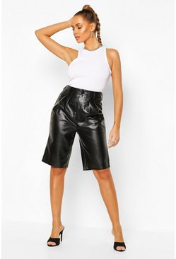 Black Faux Leather Tailored City Short
