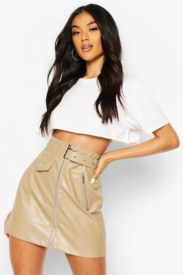Taupe beige Zip Detail Leather Look Mini Skirt