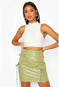 Sage green Leather Look Pocket Side Mini Skirt