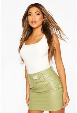 Belted Leather Look Mini Skirt, Sage verde