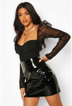 Black High Shine Vinyl A Line Mini Skirt