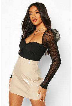 Taupe beige High Shine Vinyl A Line Mini Skirt