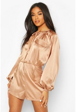 Sand beige Matte Satin Balloon Sleeve Utility Playsuit