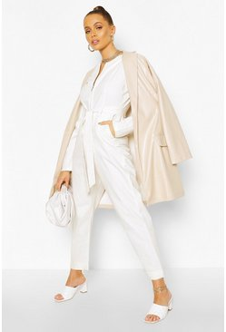 Cream white Puff Sleeve Belted Twill Boiler Suit
