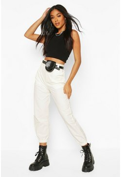 Ivory white Cargo Trouser With Belt