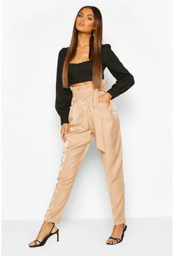 Sand beige Paperbag Waist Turn Up Trousers