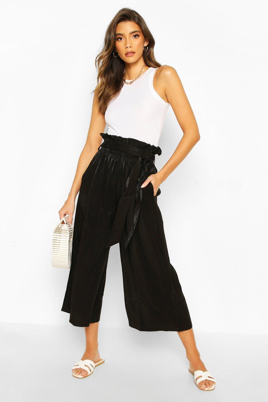 Paperbag Waist Wide Leg Culottes | boohoo