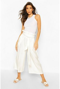 Ivory white Paperbag Waist Wide Leg Culottes