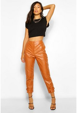 Camel Ankle Detail Leather Look Slim Fit Trousers