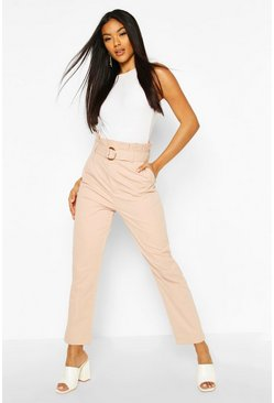 Blush pink Belted Paperbag Waist D Ring Trousers