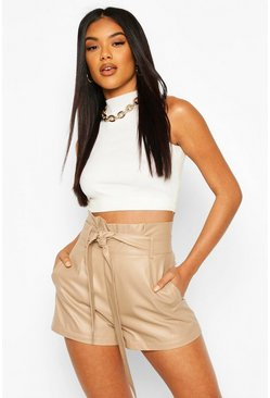 Ecru white Faux Leather Paperbag Waist Shorts