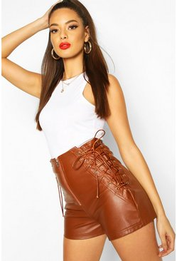 Tan Lace Up Side Leather Look Shorts