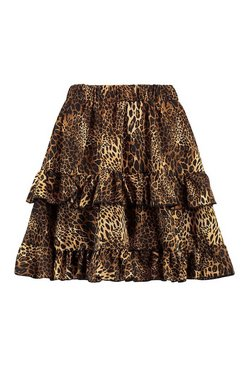 Black Mixed Leopard Print Tiered Mini Skirt