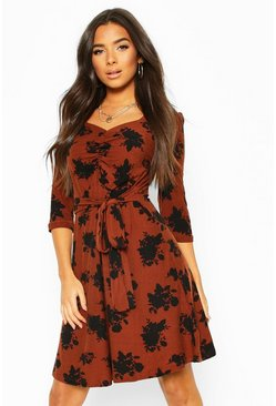 Tobacco brown Soft Touch Knitted Floral Midi Dress