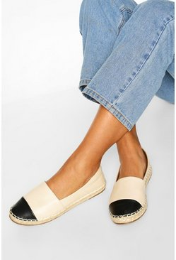Cream white Toe Cap Basic Espadrilles