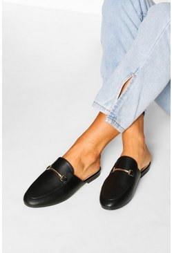 Black Basic Mule Loafers