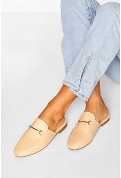 Cream Basic Mule Loafers