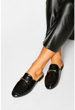 Black Basic Croc Mule Loafers