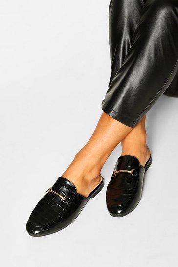 Black Basic Croc Mule Loafers