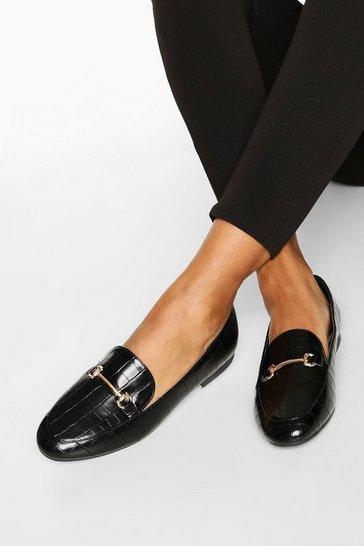 Black T Bar Croc Basic Loafers