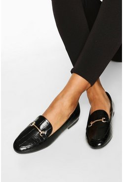 Zwart black Basic Krokodillen Loafers Met T-Bar