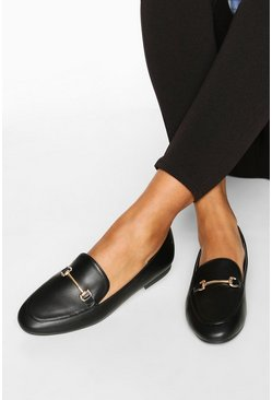Black T Bar Basic Loafers