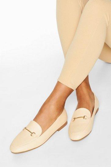 Cream white T Bar Basic Loafers