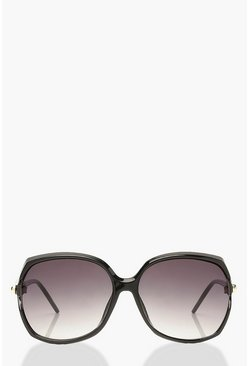 Black Tortoise Shell Detail Oversized Sunglasses