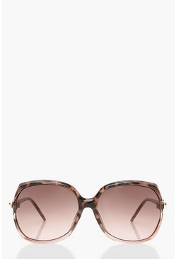 Brown Tortoise Shell Detail Oversized Sunglasses