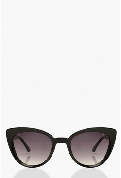 Black Oversized Retro Cat Eye Sunglasses