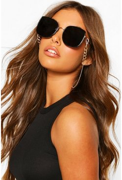 Gold metallic Chain Detail Sunglasses Chain