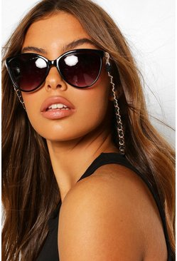 Black Threaded Chain Detail Sunglasses Chain