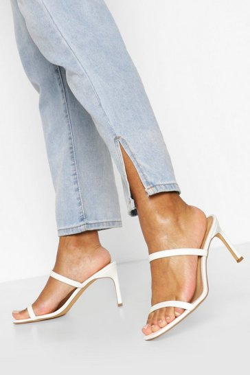 White Wide Fit Double Strap Mules