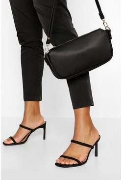 Black Wide Fit Double Strap Mules