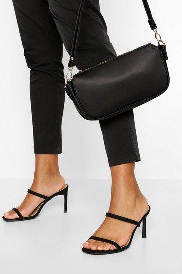 Black Wide Fit Double Strap Mules