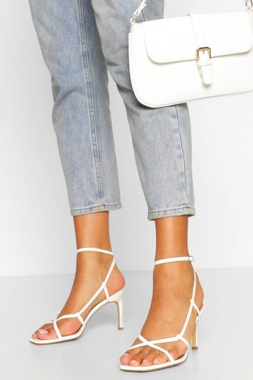 White Wide Fit Asymmetric Heel Sandals
