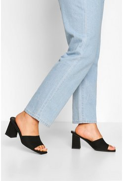 Black Wide Fit Square Toe Mules