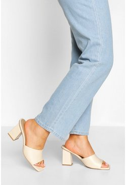 Cream white Wide Fit Square Toe Mules