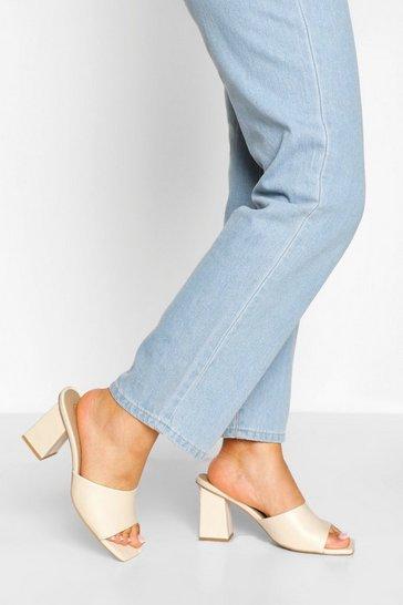 Cream white Wide Fit Square Toe Mules