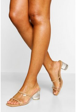 Nude Wide Fit Clear Panel Low Block Mules