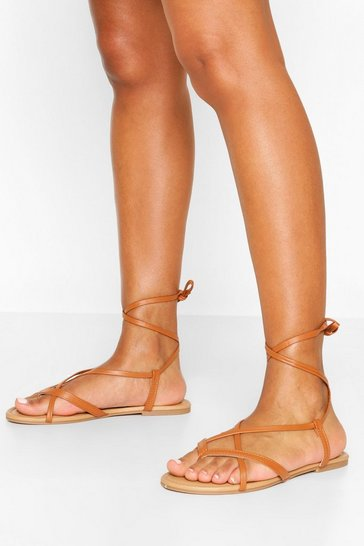Tan brown Wide Fit Strappy Basic Sandals