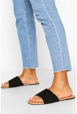 Black Wide Fit Square Toe Basic Sliders