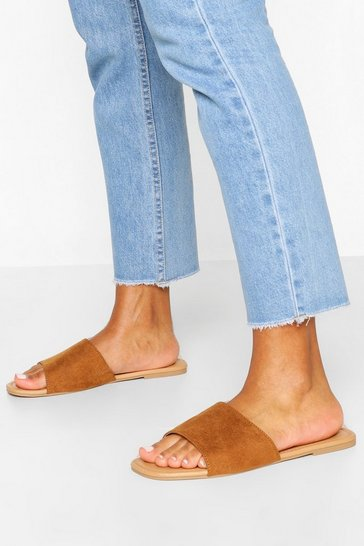 Tan Wide Fit Square Toe Basic Sliders