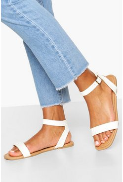 White Wide Fit 2 Part Sandals