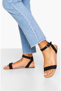 Black Wide Fit 2 Part Sandals