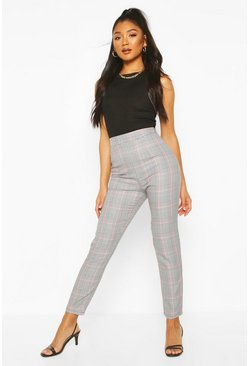 Baby pink pink Pastel Dogtooth Check Slim Fit Pants