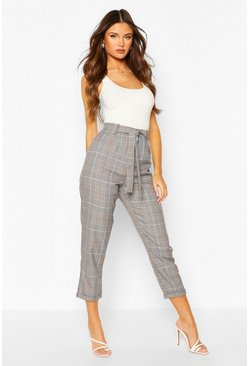 Wine Tonal Check Dogtooth Slim Fit Trouser
