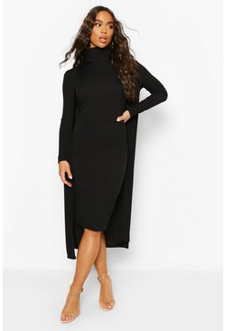 Black Rib Funnel Neck Midi Dress And Duster